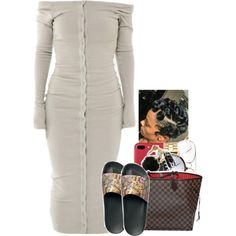 A fashion look from May 2017 featuring Gucci sandals, Louis Vuitton handbags and Nixon watches. Browse and shop related looks. Swag Outfits For Girls, Cute Swag Outfits, Chill Outfits, Dope Outfits, Fashion Outfits, Womens Fashion, Fashion Hacks, Baddie Outfits Casual, Dressy Outfits