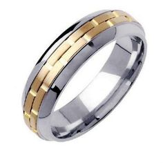 14K Two Tone Gold Brick Pattern Wedding Ring Band, For the Bride and Groom