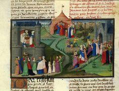 Baptism of Merlin Francais fol. 15th Century Dress, 15th Century Fashion, 15th Century Clothing, Illuminated Letters, Illuminated Manuscript, Merlin, Middle Age Fashion, Roi Arthur, Green Gown