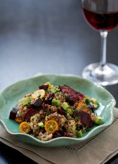 Creative spin on Quinoa: Beets, Blood Orange, Kumquat, and Quinoa Salad #recipe by @loveandoliveoil #plantbased #glutenfree