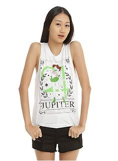 "<p>""Agent of Love and Courage, the pretty sailor suited soldier Sailor Jupiter! In the name of Jupiter, I will punish you!""</p>  <p>Sleeveless white tee from <i>Sailor Moon</i> with a Sailor Jupiter tarot card design.</p>  <ul> 	<li>100% cotton</li> 	<li>Wash cold; dry low</li> 	<li>Imported</li> 	<li>Listed in junior sizes</li> </ul>"