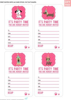 DIY FREE DOGGY PARTY INVITES Simple invites for a doggy party.- JustLoveDesign