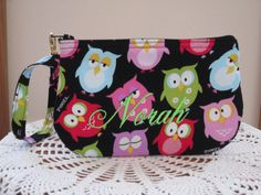 Personalized Custom Clutch Wristlet Zipper Gadget Pouch Purse in  Sleepy Owls Made in USA - pinned by pin4etsy.com