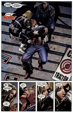 The Death of Captain America - While I love Steve Rogers and what he stood for during Civil War, the best part of the entire story was how Bucky slowly rose into the position of taking over the Captain America mantle. Marvel Comics, Marvel Heroes, Marvel Dc, Captain America Death, Captain America Comic Books, Steve Rogers, Bucky, Sharon Carter, Black Widow