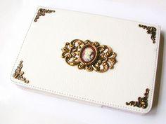 iPad Mini Case White Leatherette  Magnetic Closure Book Case Victorian Gothic iPad Accessories on Etsy, $74.58