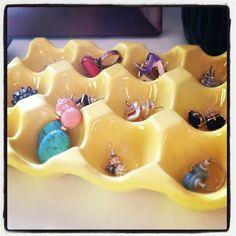Ceramic Egg Crate from Cost Plus World Market as a Jewelry Organizer via Jessica Storlie @jesern8 >> DIY #Worldmarket Inspiration