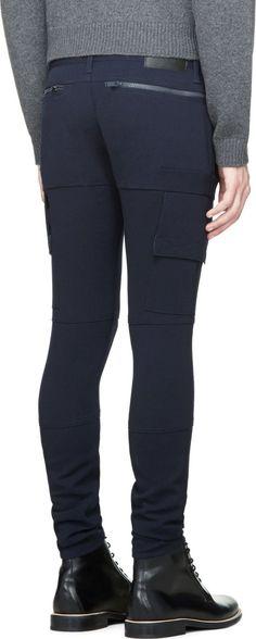 Undercover Navy Cargo Pocket Zipper Trousers