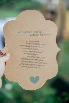 Love this idea! This couple included some fun facts on the back of their programs! {Jennifer Van Elk Photography} Follow @weddingwire for more inspiration!