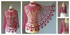 """This spectacular crochet scarf is called """"Corona"""". It's such a stunner. You can make one with the Corona Shawl Free Crochet Pattern."""