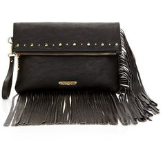 Lydc Tassel Detail Clutch Bag (250 HRK) ❤ liked on Polyvore featuring bags, handbags, clutches, fringe clutches, fringe handbags, black clutches, black purse and fringe purse