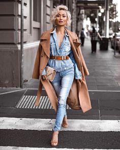 Denim on denim 2018 perks strój, dżinsy, moda Denim Fashion, Look Fashion, Fashion Outfits, Fashion Trends, Ladies Fashion, Fashion Ideas, Fashion Today, Mens Belts Fashion, Fall Fashion