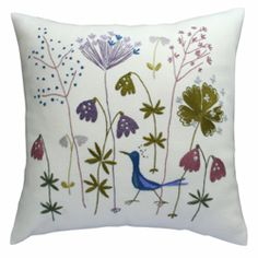 Friends of Finnish Handicraft ( Suomen Käsityön Ystävät ) is celebrating it's anniversary this year. Cushion Embroidery, Embroidery Applique, Cross Stitch Embroidery, Machine Embroidery, Bird Pillow, Textile Art, Decorative Pillows, Needlework, Sewing Projects