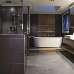 Step up to enter the bathtub. Fairmont Homes, Bathtub, Industrial, Classy, House Design, Interior Design, Inspiration, Bathrooms, Standing Bath