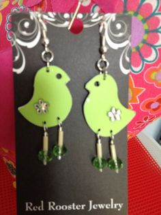 Light green chicken chickie chick earrings by RedRoosterJewelry, $14.00