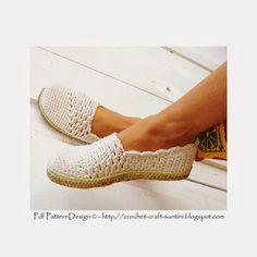 Crochet & Craft: SLANTING LINE TOE-PIECE CROCHET SLIPPER-ESPADRILLES-TOMS