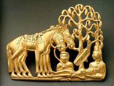 Scythian tree of life .Golden plaques representing the resurrection of a dead hero (Saka - Scythian culture, 5th century BC, Hermitage Museum).Scythian art is art, primarily decorative objects, such as jewellery, produced by the nomadic tribes in the area known to the ancient Greeks as Scythia, which was centred on the Pontic-Caspian steppe and ranged from modern Kazakhstan to the Baltic coast of modern Poland and to Georgia.