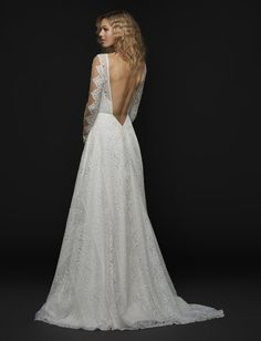 Style 1758 Bandit Blush by Hayley Paige bridal gown - Ivory banded-boho lace long sleeve bridal gown, bateau illusion neckline and low open back with nude net yoke, full lace A-line skirt.