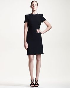 LITTLE BLACK DRESS: Short-Sleeve Dress with Side Slit by Alexander McQueen