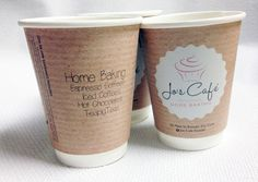 Jo's Cafe - Custom Coffee Cup Design Custom Coffee Cups, Coffee Cup Design, Home Baking, Hot Chocolate, Graphic Design, Tableware, Dinnerware, Dishes, Hot Fudge