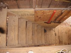 BARN - This is the stairwell looking down from the loft in our barn in Virginia.  Love this barn.