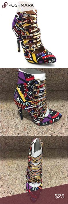 Shake Collection Aztec Print Stiletto Heel Pump Brand new, in box. Fast shipping from California. Price is firm. Sizes available- 5.5, 6, 7.5, 8, 8.5  Gorgeous zipper pump heel multicolored Aztec print shoe. Super cute and a head turner! Shoes Heels