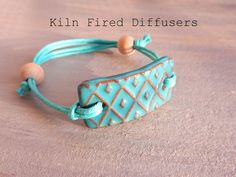 Turquoise Diamond Diffuser Bracelet for by KilnFiredDiffusers