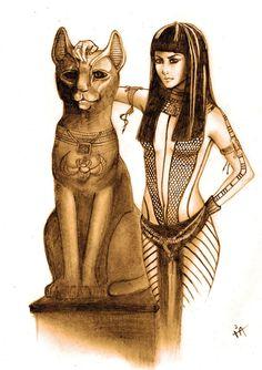 Bastet est l'une des déesses les plus discrètes du panthéon égyptien, et n'est jamais représentée, sinon dans son temple à Bubastis, qui, selon Hérodote, aurait été, à son époque, le plus beau temple du pays, avec le plus de fidèles. On peut encore visiter les restes du temple qui lui était dédié à Tell Basta (Bubastis en grec, et Per Bast en égyptien, « La maison de Bastet »).