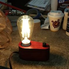 Edison Lamp in 3 Hours : 7 Steps (with Pictures) - Instructables Edison Lamp, Soldering Iron, Wooden Lamp, Wood Blocks, Light Bulb, Glow, Table Lamp, Lighting, Pictures