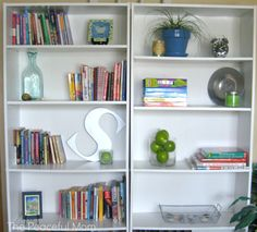 Cheap shelving units can still be made to look attractive--The Peaceful Mom (scroll to bottom of the post)