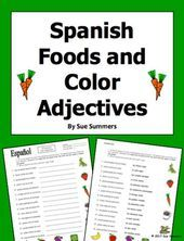 Adjectives Colors Foods Spanish Worksheet Spanish Foods With Colors Adjectives By Sue Summers Contains 15 Foods And 10 Color Words Spanish Colors Spanish Animal Worksheets