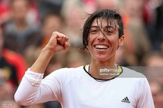 Francesca Schiavone of celebrates match point in her Women's Singles match against Kirsten Flipkens of Belgium on day six of the French Open at Roland Garros on May 31, 2013 in Paris, France.