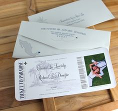 Boarding Pass Save The Dates by InspirationsbyAmieLe on Etsy
