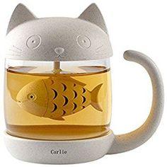 Carlie Cute Cat Glass Cup Tea Mug With Fish Tea Infuser Strainer Filter