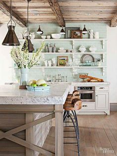 Love the ceiling and the back splash color. My favs!