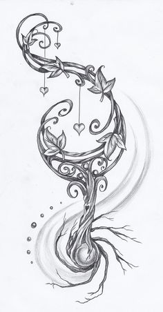 Roots by on DeviantArt - New Ideas Tattoo Design Drawings, Pencil Art Drawings, Cool Art Drawings, Art Drawings Sketches, Key Tattoo Designs, Body Art Tattoos, New Tattoos, Sleeve Tattoos, Tatoos