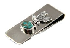 Sterling Silver Money clip with Bald Eagle and Turquoise stone.  Shop NativeDirect.com  #handmade #nativemade #sterlingsilver #baldeagle #mensgift #giftforguys