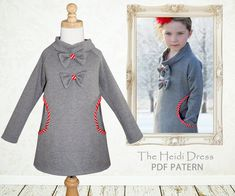 Childrens pattern with instant download.    The Heidi dress is a stylish little girls dress pattern with bias trimmed pockets and cute bows.