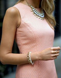 peach boucle sheath dress + pearl and crystal statement necklace
