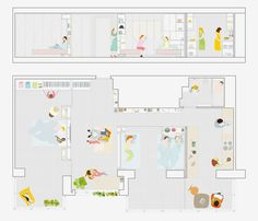 As Ikea works on bringing movable walls to the masses, a recent project completed by Spanish design firm PKMN Architectures offers a good look at how a super flexible apartment might actually work. Spanish Apartment, Apartment 9, Apartment Plans, Architecture Presentation Board, Colour Architecture, Mobile Architecture, Presentation Design, Small Apartments, Small Spaces