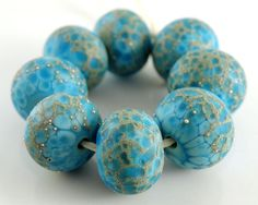 Ocean Breeze - Handmade Artisan Lampwork Etched Glass Round Beads 8mmx12mm - Blue, Green, Gold, Silver - SRA (Set of 8 Beads) on Etsy, $32.00