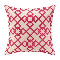 Embroidered linen pillow with a pink links motif and feather down fill.    Product: PillowConstruction Material: Lin...