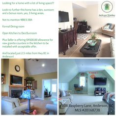 Magnificent house just 2.5 miles from Hwy 81 in Anderson, SC. Offers 3 living areas (den, sunroom and bonus room) 4BR/3.5BA and an in-ground pool! $4500.00 allowance for new granite counters with acceptable offer! Make this home  yours!!!