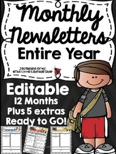 Newsletter templates with Monthly Themes, perfect for weekly/monthly communication with school, parents, and families. Included are 17 different templates, a different newsletter template for each month. Teacher Tips1. Newsletters For the Entire Year! 17 Included!