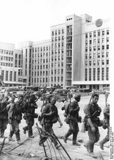 German soldiers are passing the White House., Minsk. 1941