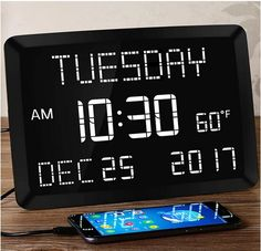 """11.5"""" Digital Wall Clock,Large Calendar Day Clock,Impaired Vision LED Desk Alarm Clock with 3 Alarms,Date,Temperature,5 Dimmer,2 USB Chargers,DST... Digital Wall, Digital Alarm Clock, Alarm Clocks, Radios, Wall Clock With Date, Gifts For Elderly, Best Wall Clocks, Clock Wall, Electric Clock"""