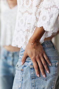 white lace top and denim