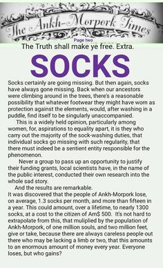 The Ankh-Morpork Times. The Truth shall make ye free. Extra. SOCKS. page two, by David Green 28 June 2016