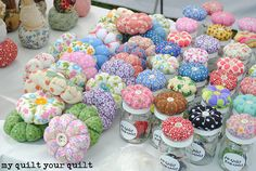 Diy And Crafts Sewing, Diy Crafts Hacks, Jar Crafts, Fabric Crafts, Sewing Projects, Diy Makeup Organizer Cardboard, Crafts To Make And Sell Easy, Shabby Chic Jars, Felt Pincushions