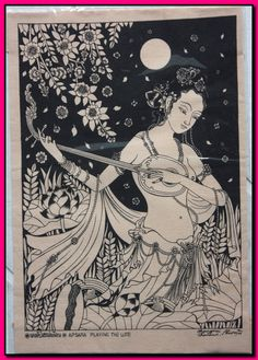 Thai traditional art of apsara playing the lute by silkscreen printing on cotton