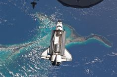 NASA Space Shuttle with deck gates open, a photo from above